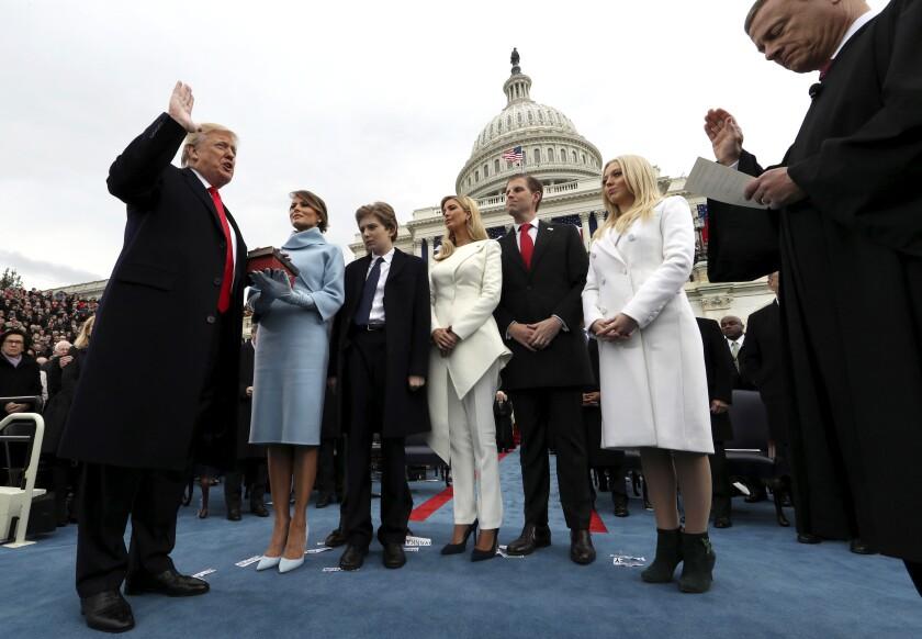 President Trump takes the oath of office in Washington on Jan. 20, 2017.