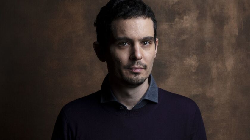 """Damien Chazelle, director of """"First Man,"""" photographed in the film L.A. Times Photo and Video Studio at the 2018 Toronto International Film Festival."""