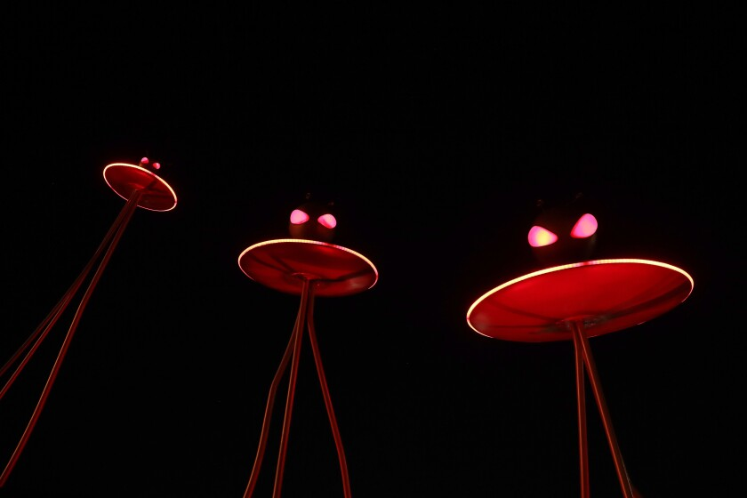 """""""Flying Saucers"""" in Tim Burton's """"Lost Vegas"""" at the Neon Museum."""