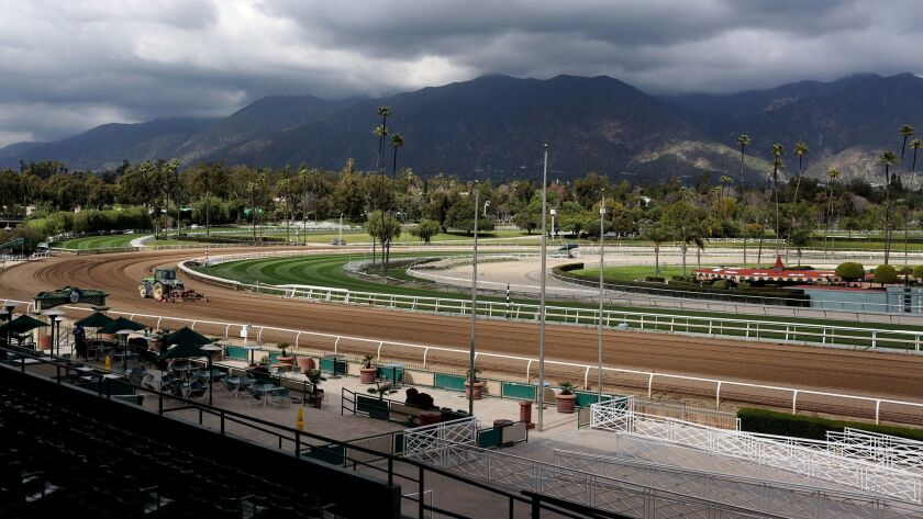 Santa Anita's track with the scenic San Gabriel Mountains in the background.
