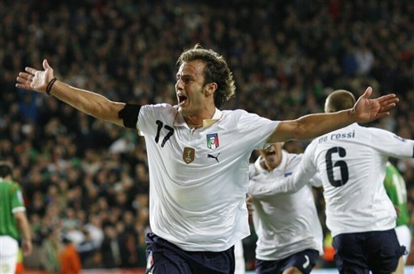 Italy's Alberto Gilardino reacts after scoring a goal against Republic of Ireland during their World Cup group 8 qualifying soccer match at Croke Park, Dublin, Ireland, Saturday, Oct. 10, 2009. (AP Photo/Peter Morrison)