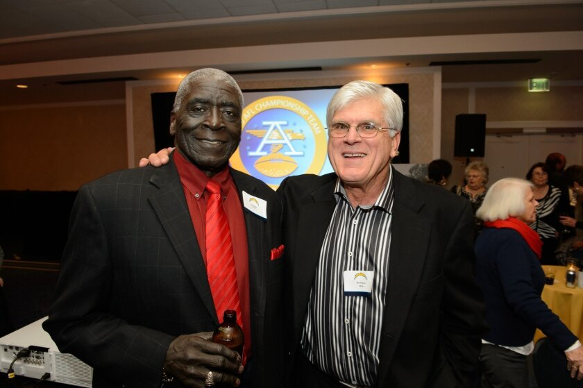 Chargers Hall of Famer Earl Faison, left, and a former teammate, Bob Petrich.