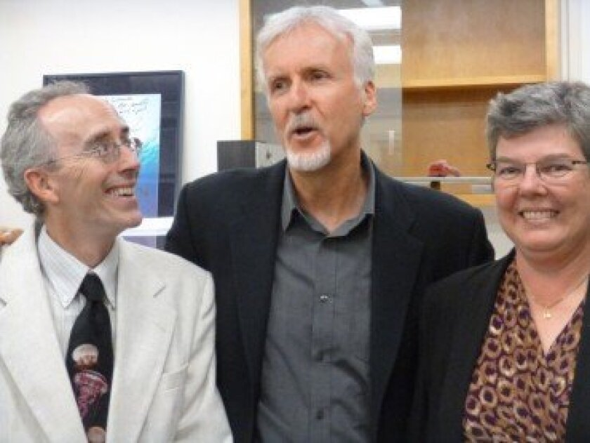 Doug Bartlett, chief scientist of the Deepsea Challenge expedition, James Cameron and Catherine Constable, interim director of Scripps Institution of Oceanography. Photo by Lynne Friedmann