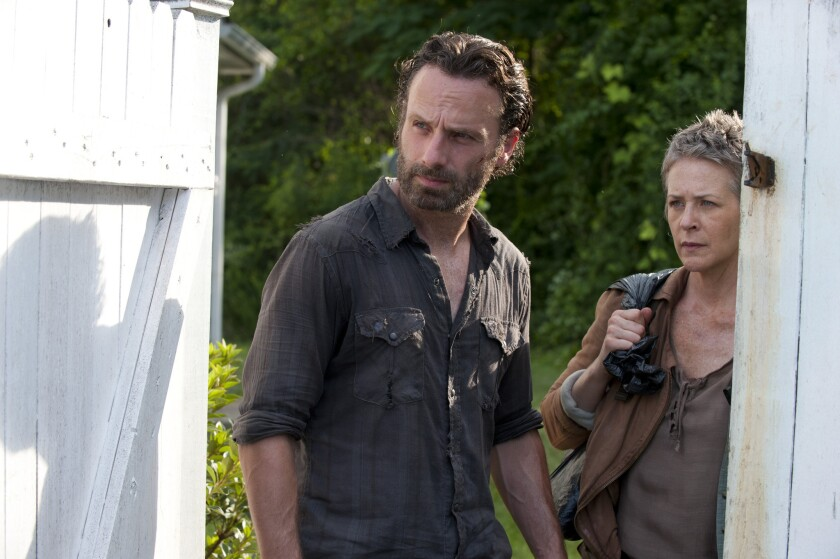 "Andrew Lincoln and Melissa McBride star in ""The Walking Dead."""