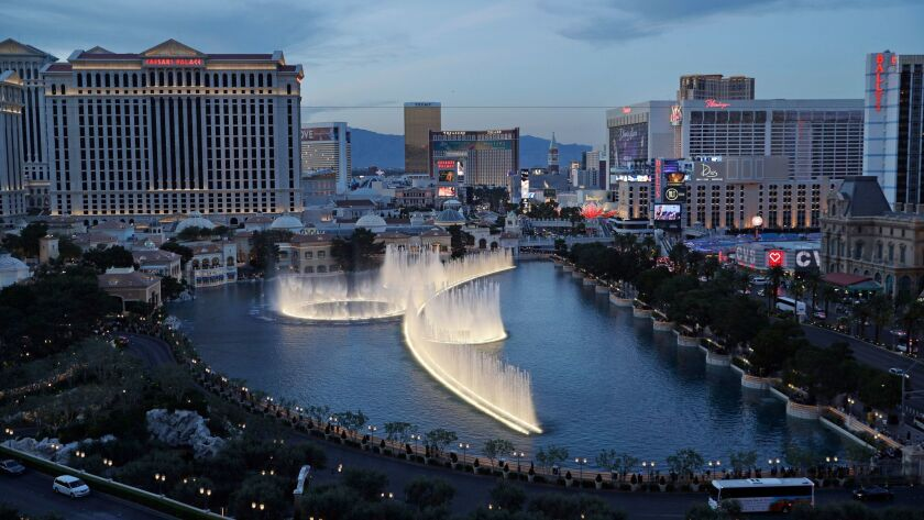 In this April 4, 2017, photo, the fountains of Bellagio erupt along the Las Vegas Strip in Las Vegas.