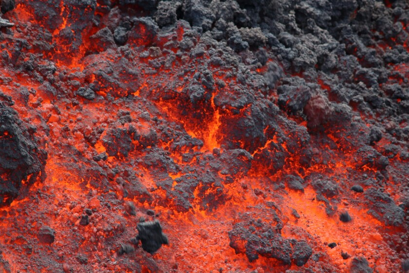 The front of the fiery lava flow on June 29.