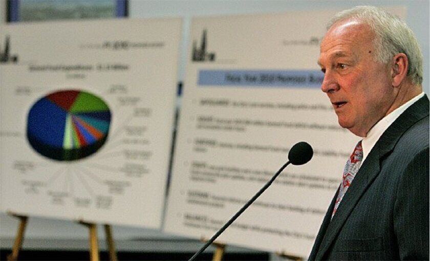 San Diego Mayor Jerry Sanders answered questions about his proposed budget at a news conference yesterday. He will ask the City Council to impose benefit reductions on the five unions representing city workers to help close a $60 million deficit. (Howard Lipin / Union-Tribune)