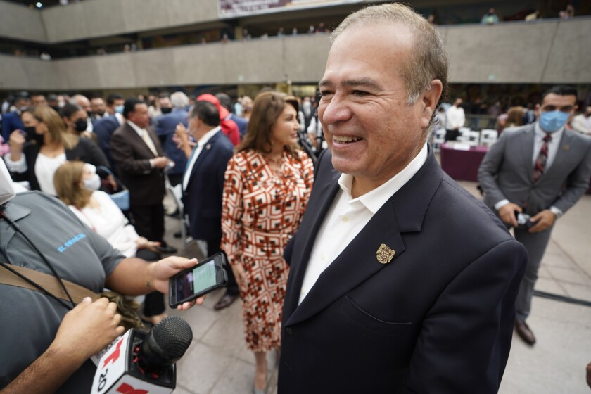 Arturo González Cruz is seen at the swearing-in ceremony for his successor at Palacio Municipal in Tijuana in October.