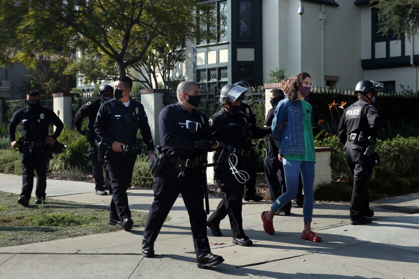 People were detained at a Black Lives Matter protest outside Mayor Eric Garcetti's home in Windsor Square on Thanksgiving.