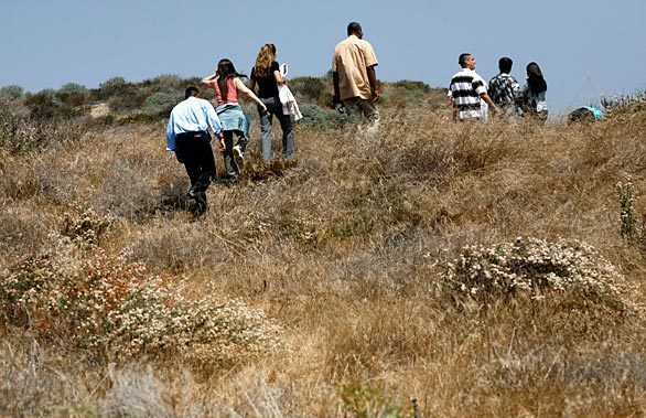 Visitors to the El Segundo blue butterfly habitat restoration area near LAX walk carefully down the pathways in search of the insect, which has a wingspan the size of a thumbnail.