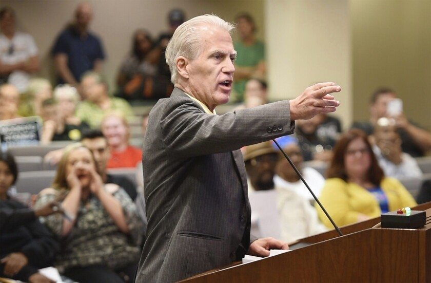 Don Grundmann, founder of the the National Straight Pride Coalition, at a Modesto City Council meeting Wednesday.