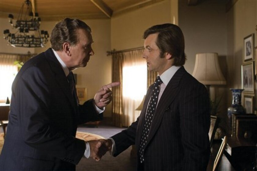 "In this image released by Universal Pictures, Frank Langella portrays Richard Nixon, left, and Michael Sheen portrays David Frost in a scene from the film, ""Frost/Nixon."" (AP Photo/Universal Pictures, Ralph Nelson)"