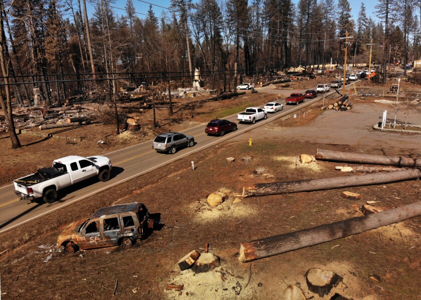 Traffic lines up on Skyway Road in Paradise in February 2019, three months after the deadly Camp fire.
