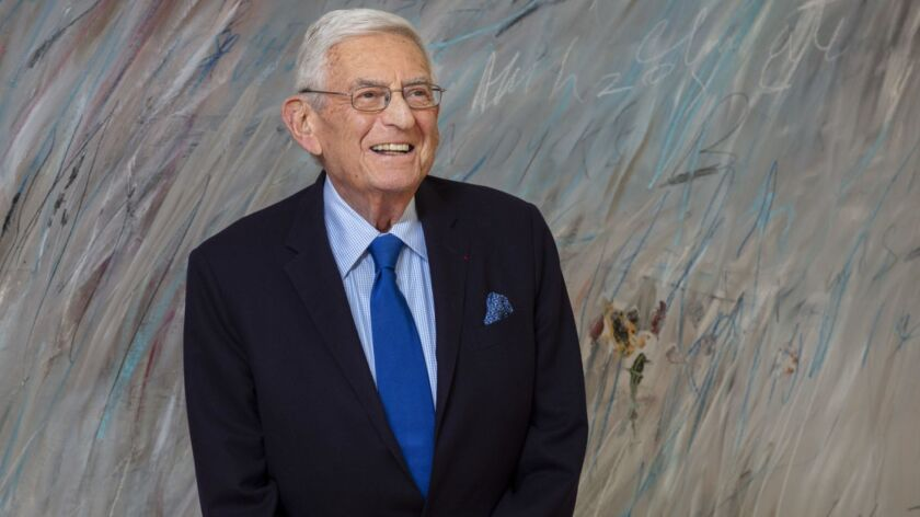 LOS ANGELES, CA--APRIL 26, 2019--Entrepreneur and philanthropist Eli Broad is photographed in front