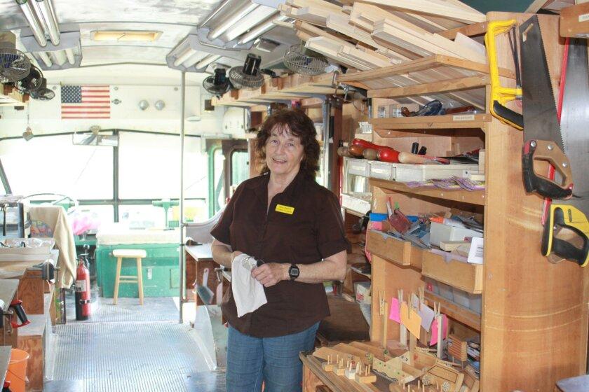 Sheila Dawson in her rolling woodworking station parked at Bird Rock Elementary School.