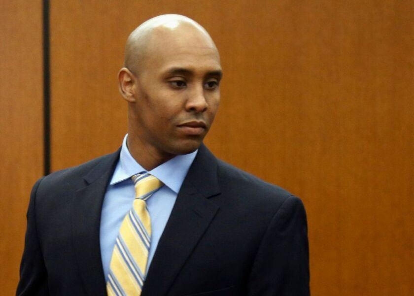 Mohamed Noor arrives at the Hennepin County Government Center for a hearing in Minneapolis.