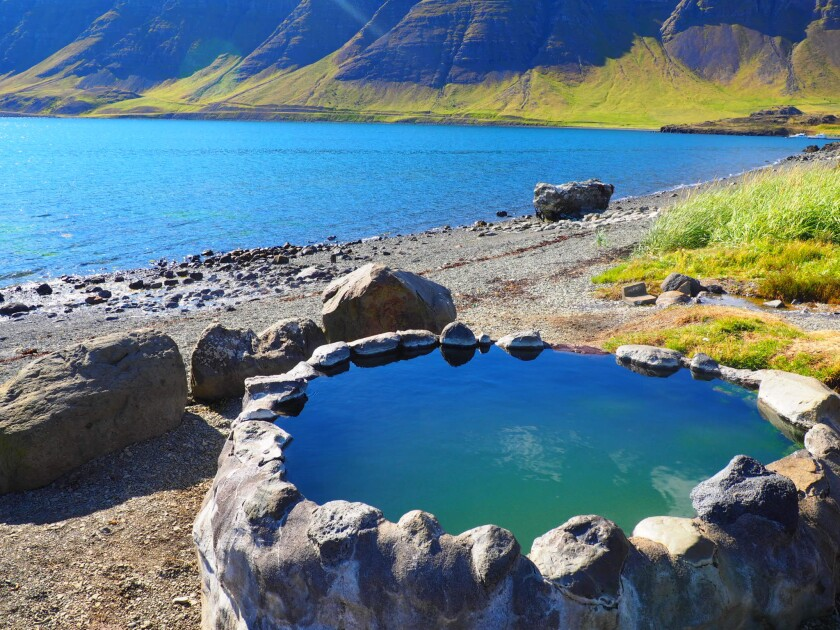 The Hvalfjardarlaug geothermal pool in Iceland.