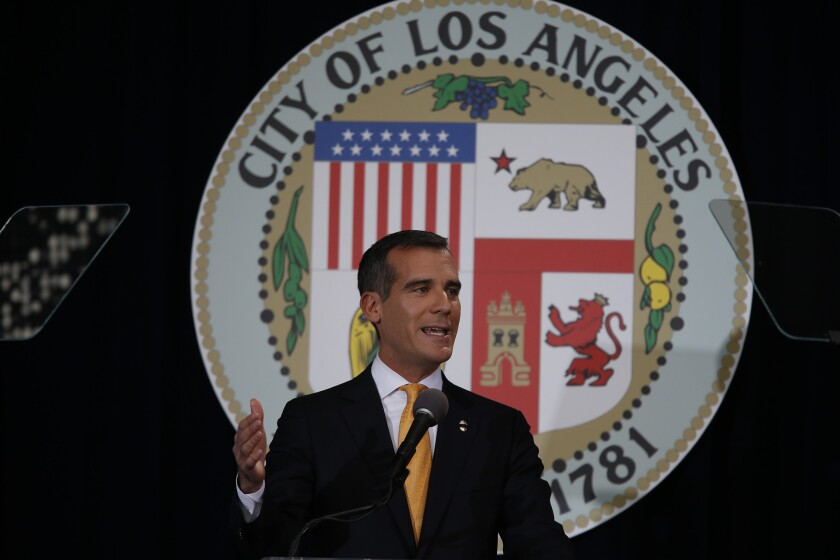 L.A. Mayor Eric Garcetti delivers his first State of the City address.