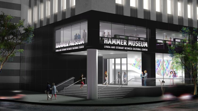 A preliminary rendering of the Hammer's new corner entrance at Wilshire and Westwood. Credit: Michae