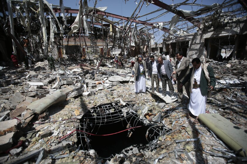 A Saudi Arabia-led military coalition is blamed for an airstrike on a funeral gathering in Sana, Yemen, on Oct. 8 that killed 135 people and injured 602.