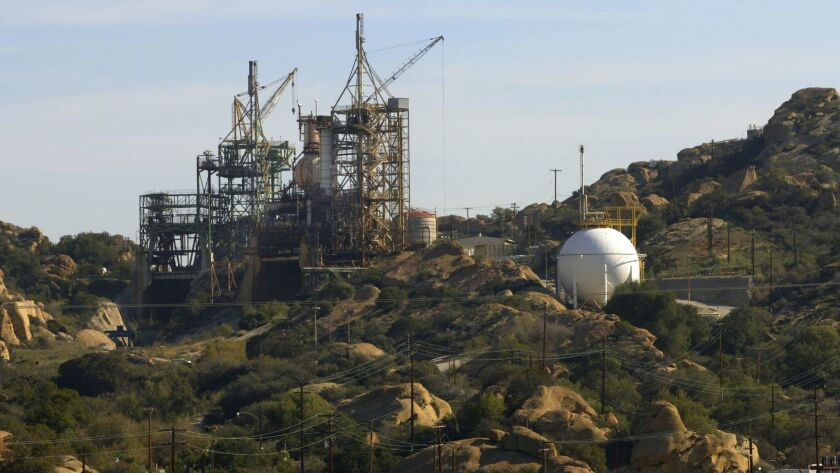 An inactive space shuttle test site at the Santa Susana Field Lab in 2002. Most of the property is owned by Boeing, which acquired Rocketdyne in 1996.