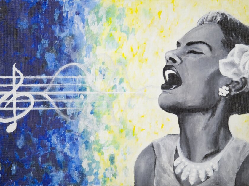 'Lady Sings the Blues' by Chula Vista High 11th grader Ramona DeMotto is part of the 'Young Art 2015' exhibit.