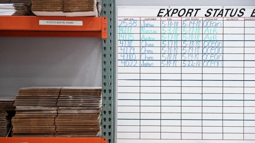 TORRANCE-CA-MAY 24, 2018: Export status board at Robinson Helicopter Co. in Torrance on Thursday, Ma
