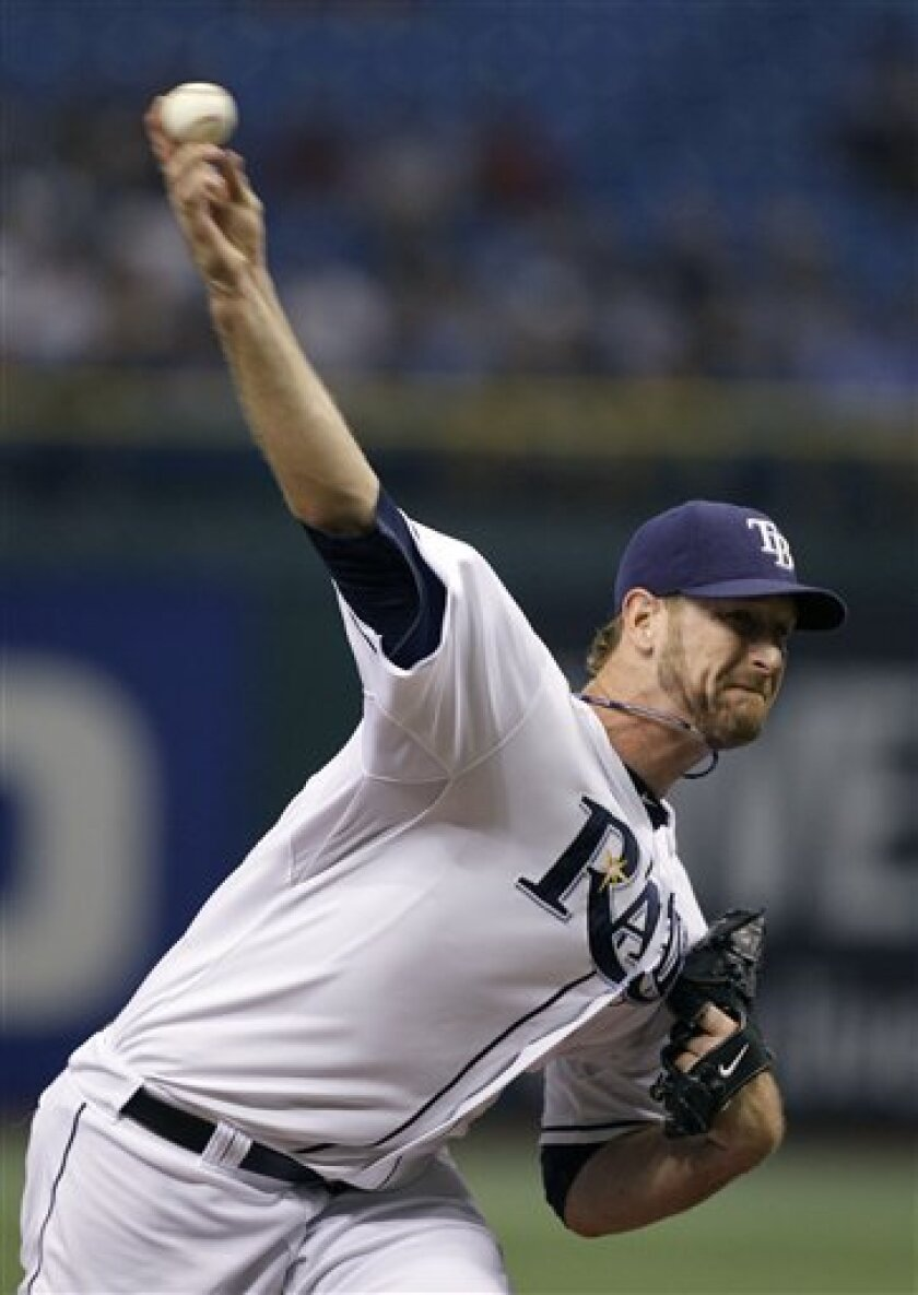 Tampa Bay Rays pitcher Jeff Niemann delivers to the Toronto Blue Jays during the first inning of a baseball game Tuesday, June 8, 2010, in St. Petersburg, Fla. (AP Photo/Chris O'Meara)