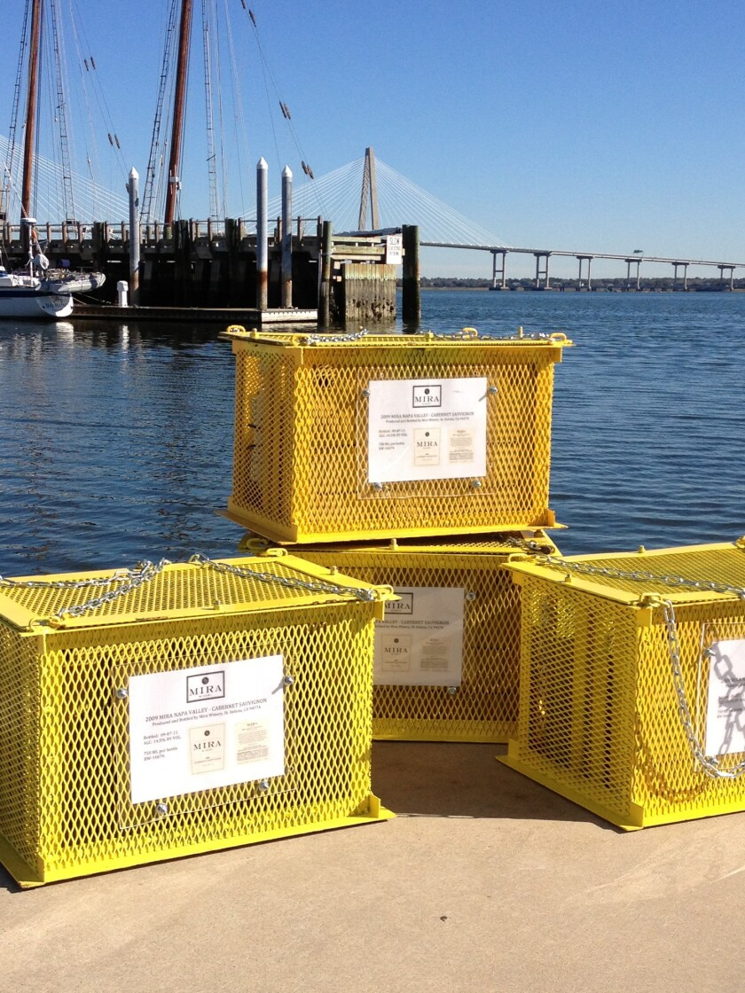 A Napa Valley winery is conducting an underwater experiment by aging 48 bottles of Cabernet Sauvignon in South Carolina's Charleston Harbor.