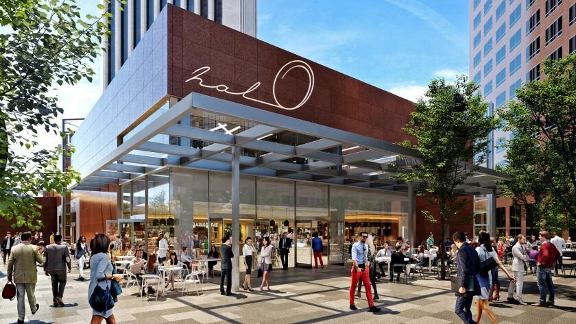 When complete in 2019, the Wells Fargo Center's new common area will be indoor-outdoor with restaura