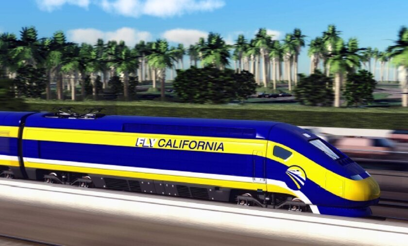 An artist's conception of a high-speed rail train in California.