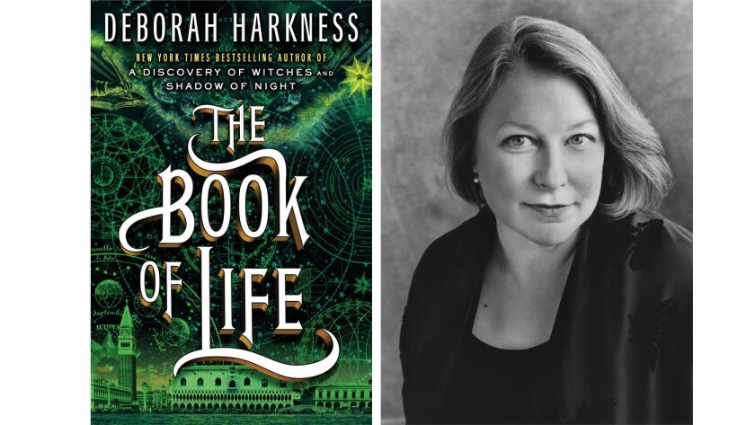"""Author Deborah Harkness and the cover of her new book, """"The Book of Life."""""""