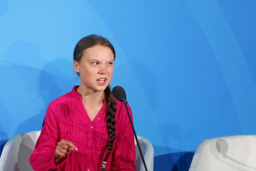 Environmental activist Greta Thunberg addresses the Climate Action Summit in the United Nations General Assembly on Sept. 23.