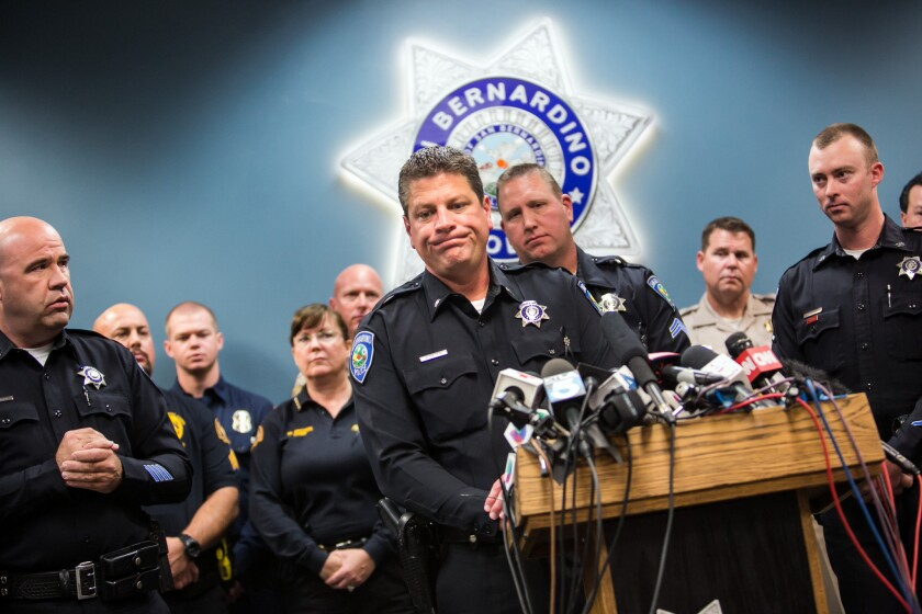 Lieutenant Mike Madden from the San Bernardino Police Department reacts as he recounts the events of the deadly San Bernardino terrorist attack.
