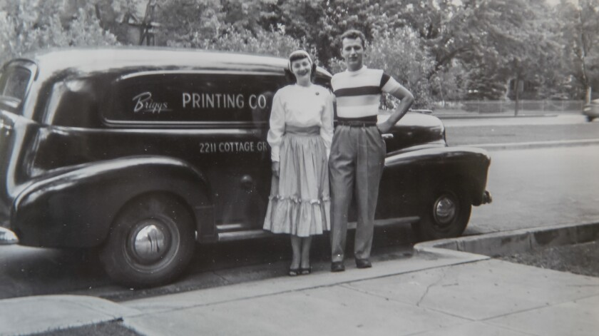 A 1948 photo of Blaine and LaVerne Briggs on a trip in Colorado Springs visiting family. They married in 1946 and have been married nearly 71 years.