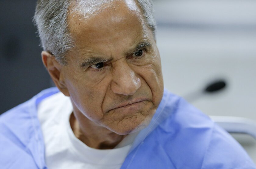 Sirhan Sirhan reacts during a parole hearing Wednesday, Feb. 10, 2016, at the Richard J. Donovan Correctional Facility in San Diego. For the 15th time, officials denied parole for Sirhan Sirhan, the assassin of Sen. Robert F. Kennedy, after hearing Wednesday from another person who was shot that ni