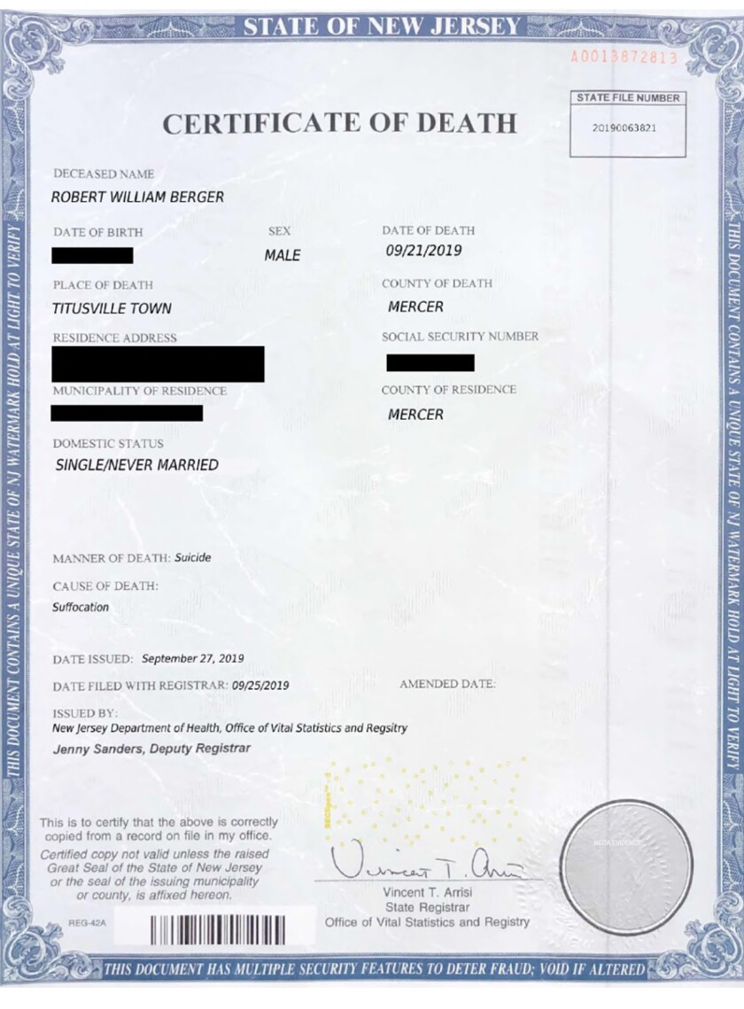 Faked death certificate