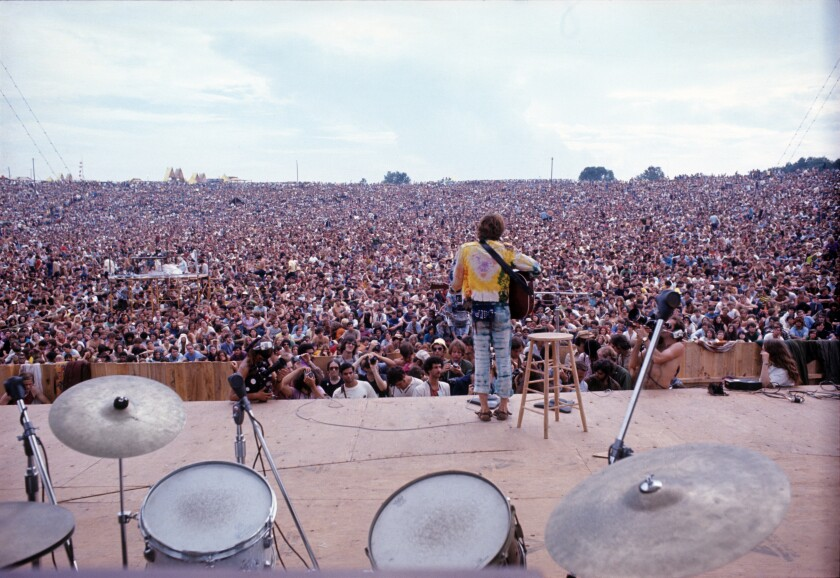 This was the view from the stage during John Sebastian's impromptu performance at the 1969 Woodstock festival, where the audience numbered between 400,000 and 500,000. A majority of the attendees did not have tickets.
