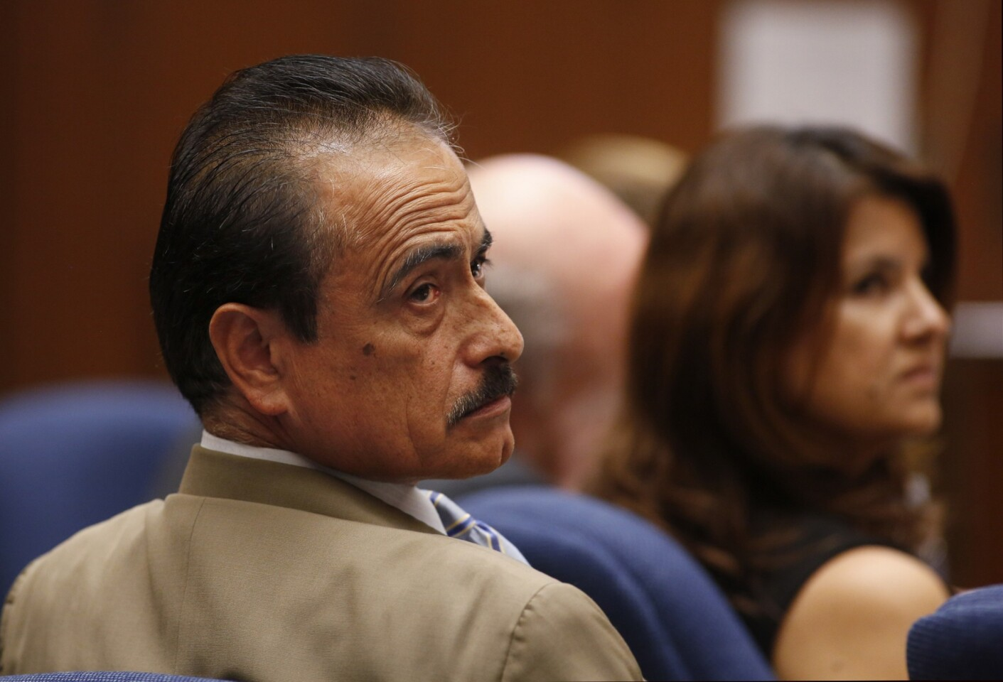 Richard Alarcon, left, and his wife, Flora Montes de Oca Alarcon, at the couple's perjury trial in downtown L.A. on July 8.