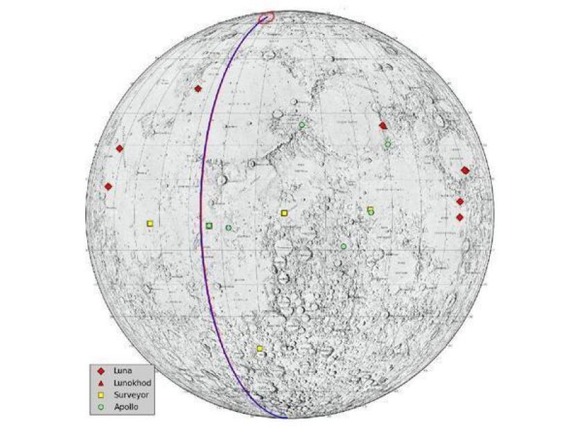 """The GRAIL spacecrafts' crash site, near the lunar North Pole, is marked with a red circle. Also noted: places where Russian and U.S. spacecraft have landed on the moon. Mission planners deliberately tried to avoid these """"lunar heritage sites."""""""