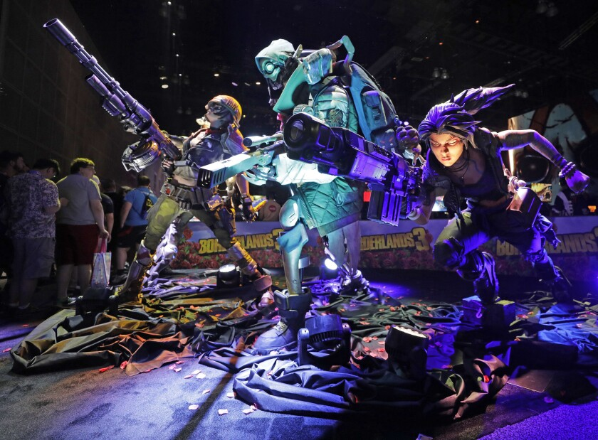 """LOS ANGELES, CA -- JUNE 11, 2019: Characters from """"Borderland 3"""" on display at E3 at the Los Angeles"""