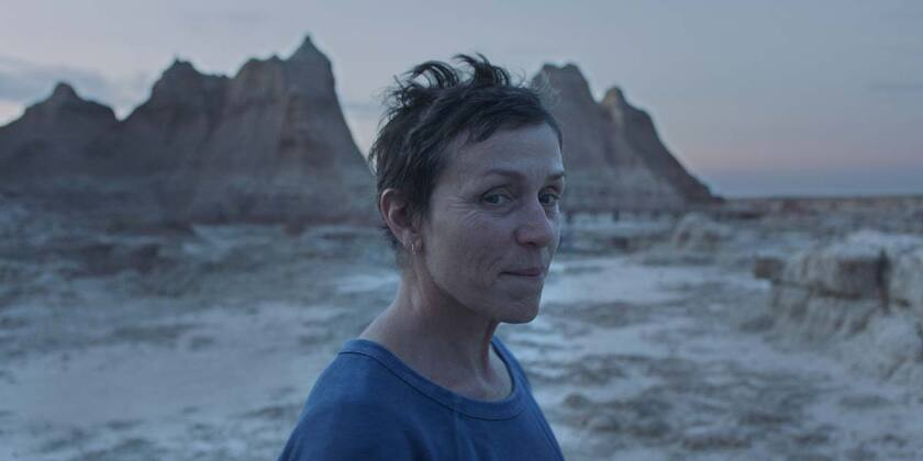 "Frances McDormand in the movie ""Nomadland."""