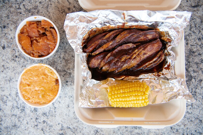 Chicken links, mac 'n' cheese and candied yams from Phillips Bar-B-Que