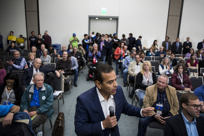 Gubernatorial candidate Antonio Villaraigosa speaks to the Environmental caucus during the California Democratic Convention.