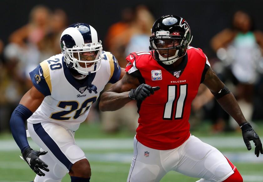 Rams cornerback Jalen Ramsey covers Falcons receiver Julio Jones on Oct. 20, 2019.