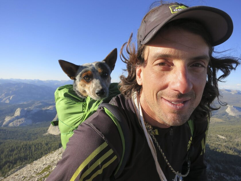 Extreme sports personality Dean Potter and his dog Whisper.