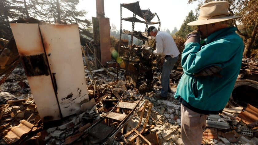 California fire victims can call for free help with landlord-tenant issues, mortgage foreclosure concerns and questions about life, medical and property insurance. Above, Chris Shaw, 74, surveys his destroyed home in Wikiup.