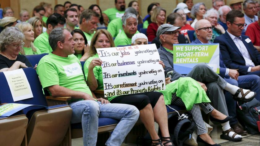 During a July San Diego City Council hearing on short-term rentals, supporters on both sides of the issue showed up to voice their opinions on how such rentals should be regulated.