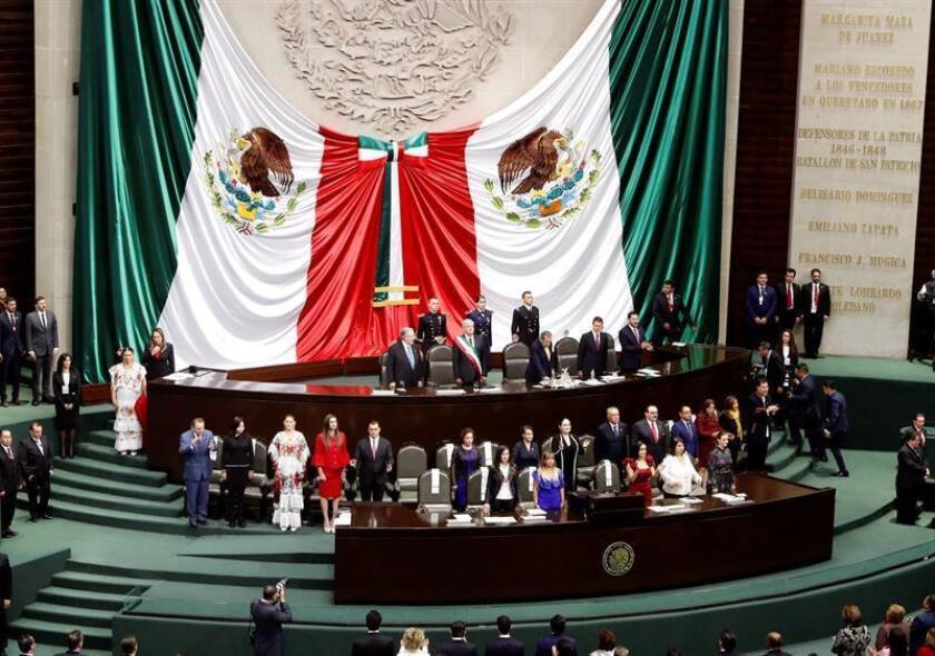 Un momento de la ceremonia de toma de posesión del presidente electo de México, Andrés Manuel López Obrador, que se ha celebrado en el Palacio Legislativo de San Lázaro, en Ciudad de México. EFE / CASA DE S.M. EL REY / Francisco Gómez.