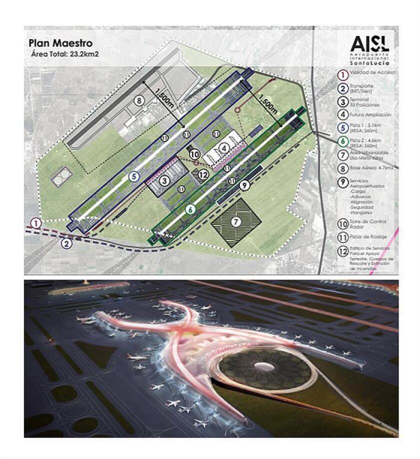 Imagen cedida del proyecto de construcción del aeropuerto propuesto por el Gobierno del futuro presidente de México, Andrés Manuel López Obrador (Arriba) y de la maqueta de como va a ser el nuevo aeropuerto Internacional de Ciudad de México que se encuentra con un avance de 32 por ciento (abajo). EFE/PROYECTO AMLO/PRESIDENCIA/ SOLO USO EDITORIAL / NO VENTAS